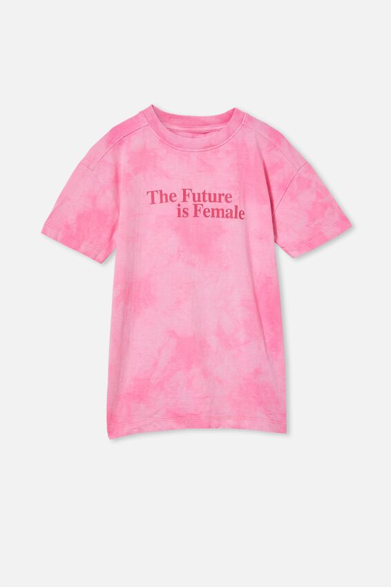 Scout Drop Shoulder Short Sleeve Tee, PINK POP TIE DYE/THE FUTURE IS FEMALE