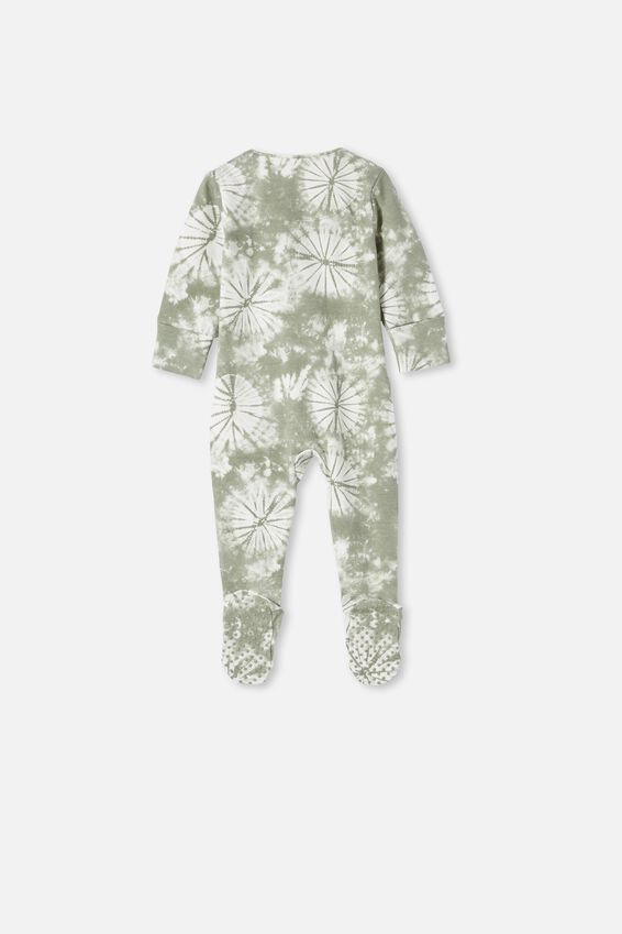 The Long Sleeve Zip Romper, SILVER SAGE TIE DYE