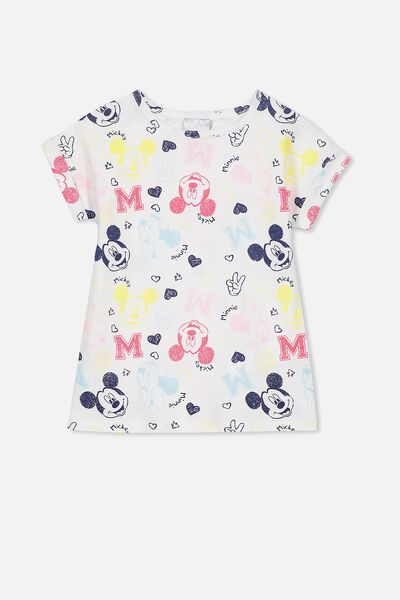 Lux Short Sleeve Retro Tee, SKETCHY MICKEY VANILLA