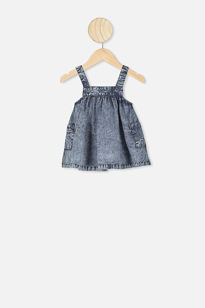 Penny Pinafore Dress, CHAMBRAY WASH