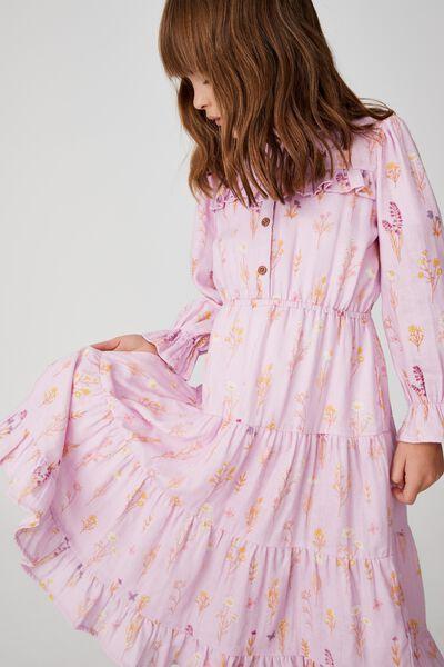 Andie Long Sleeve Dress, PALE VIOLET BOTANICAL SPRIGS