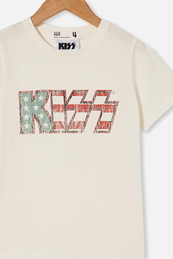 License Short Sleeve Tee, LCN BR KISS USA/VANILLA