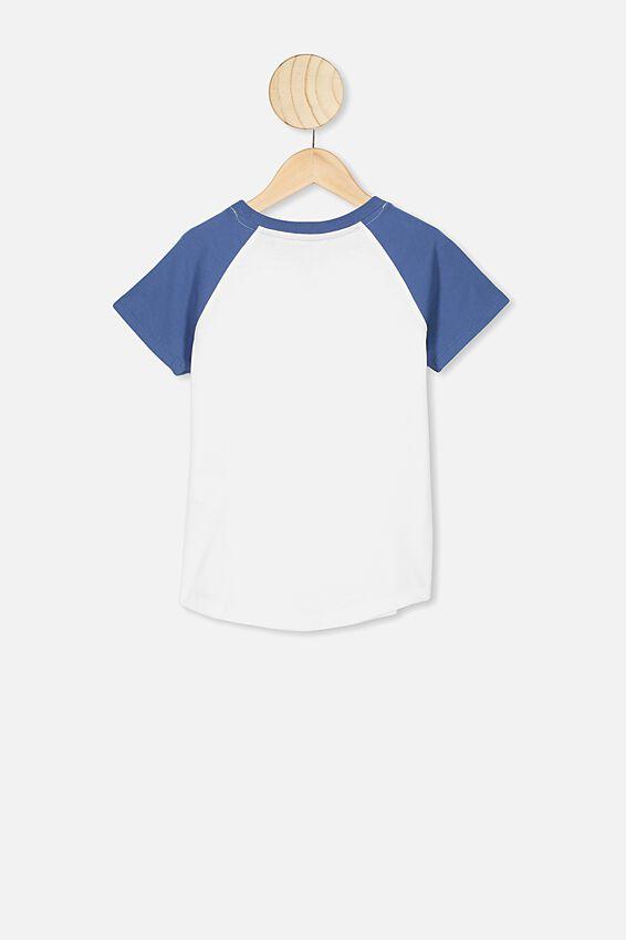 Max Short Sleeve Raglan Tee, WHITE/PETTY BLUE/FREE SPIRIT