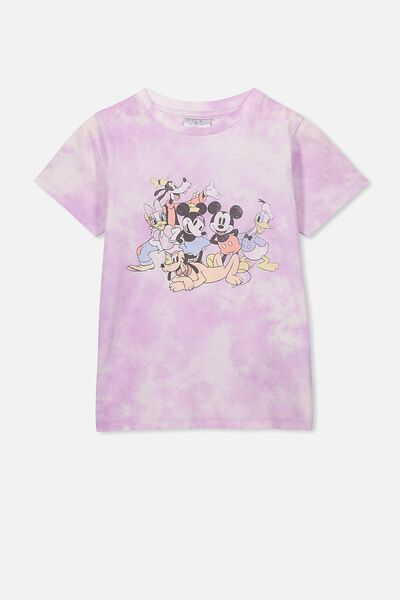 Lux Short Sleeve Tee, LCN DIS LAVENDER FOG TIE DYE/MICKEY AND FRIENDS/MA