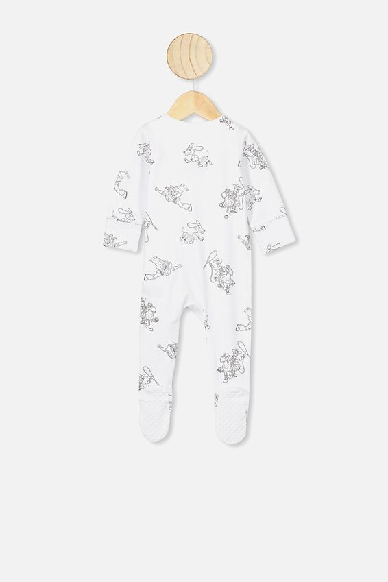 The Long Sleeve Zip Romper, LCN DIS WHITE/TOY STORY