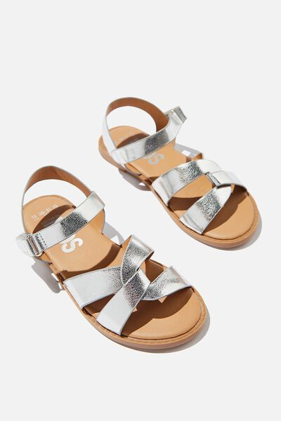 Fisherman Weave Sandal, METALLIC SILVER