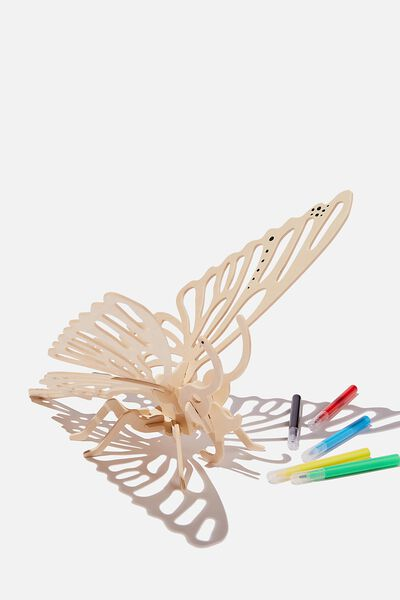 Wooden 3D Puzzle And Markers, BUTTERFLY