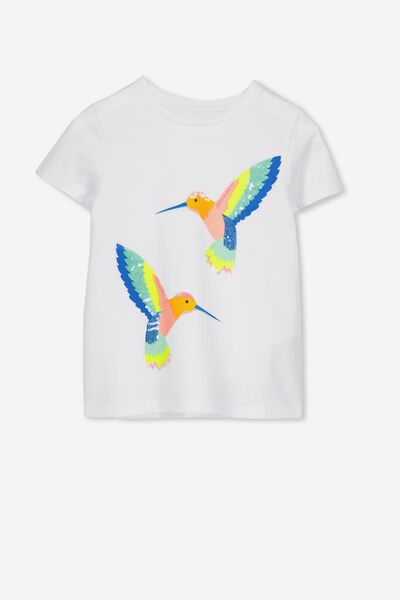 Stevie Ss Embellished Tee, WHITE/SEQUIN HUMMING BIRDS