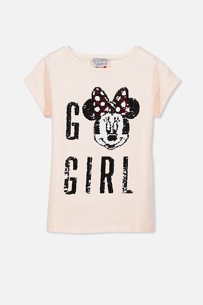 Lux Short Sleeve Retro Tee, MINNI GO GIRL/LIGHT PINK