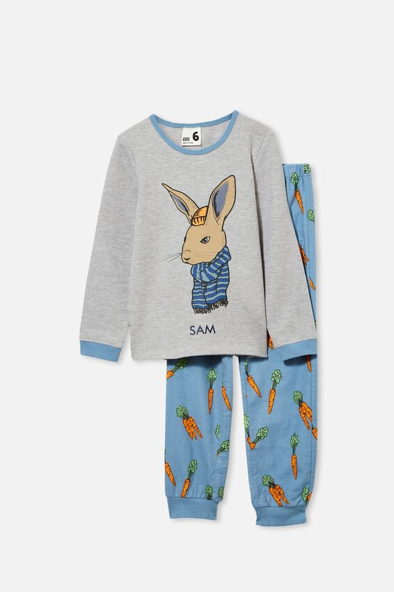 Noah Long Sleeve Pyjama Set Personalised, COOL BUNNY/ SUMMER GREY MARLE