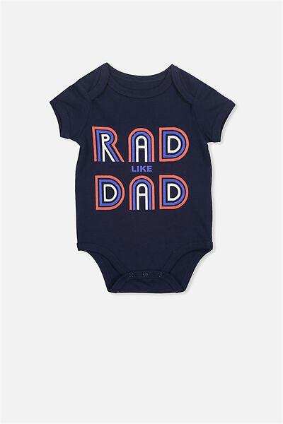Mini Short Sleeve Bubbysuit, PEACOAT/RAD DAD