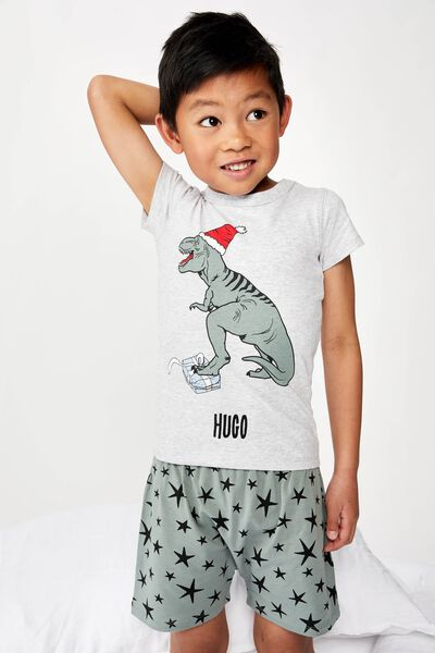 Hudson Short Sleeve Pyjama Set- Personalised, XMAS DINO/PERSONALISED