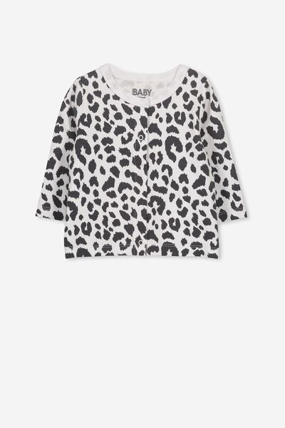 The Baby Cardigan, WHITE/OCELOT PRINT