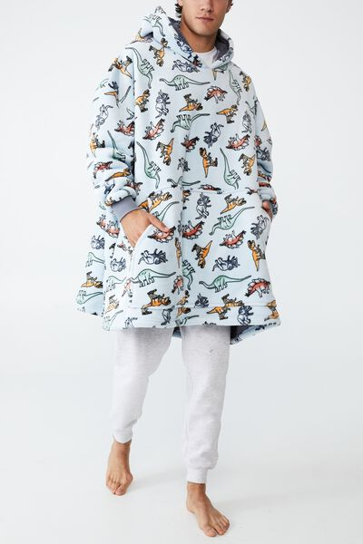 Snugget Adults Oversized Hoodie, MULTI DINO SHADOW/FROSTY BLUE