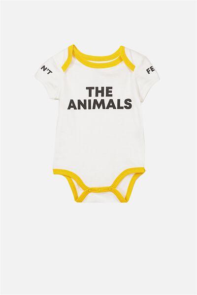 Mini Short Sleeve Bodysuit, VANILLA/THE ANIMALS