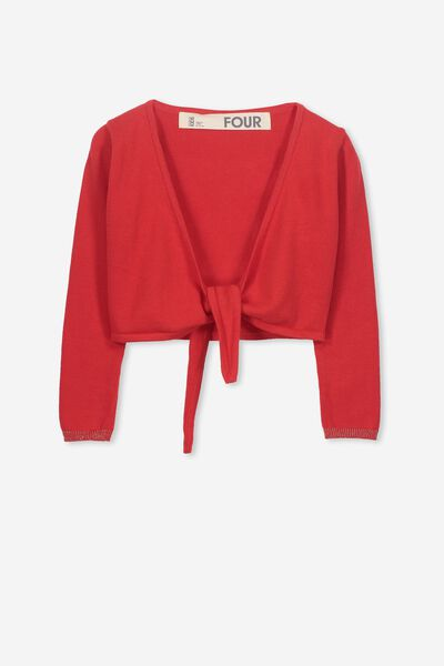 Annabelle Tie Front Cardigan, FLAME SCARLET/GOLD