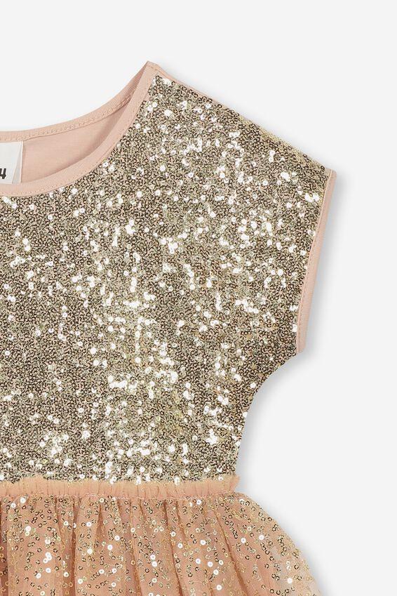 Inga Tulle Dress, BISCUIT/GOLD GRADIENT