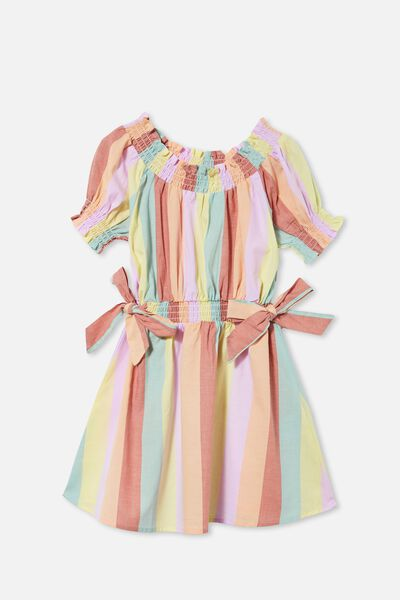 Samira Short Sleeve Dress, RAINBOW STRIPE