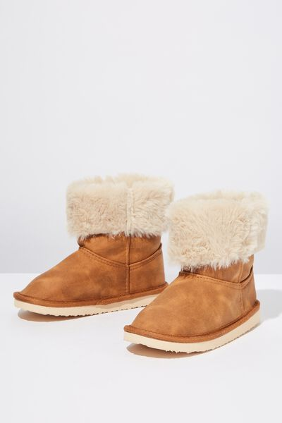 Faux Fur Foldover, TAN