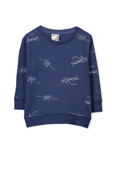Leon Crew Sweatshirt, CAPTAINS BLUE/PLANE