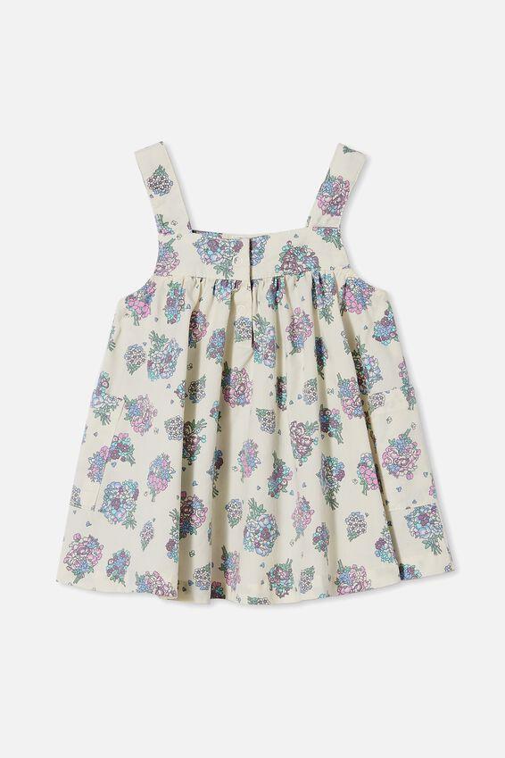 Penny Pinafore Dress, DARK VANILLA/DUSK PURPLE PETUNIA FLORAL