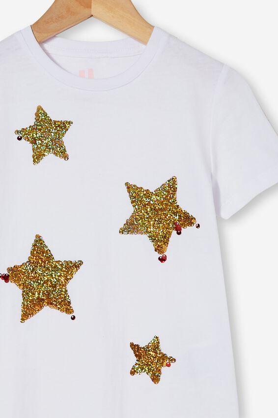 Stevie Short Sleeve Embellished Tee, WHITE STARS