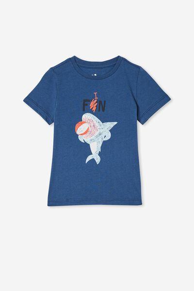 Max Short Sleeve Tee, PETTY BLUE/ SHARK FUN