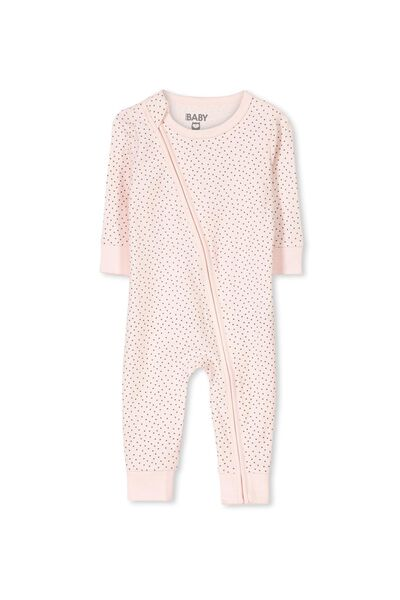 Mini Zip Footless One Piece, SOFT PINK/GRAPHITE GREY