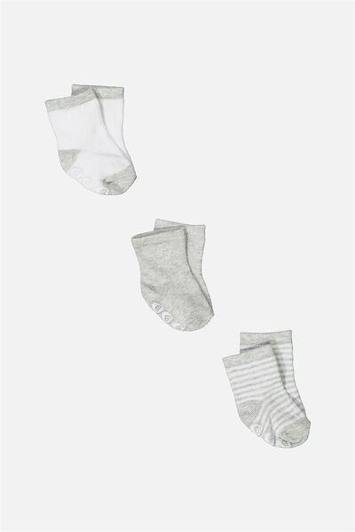 3 Pack Baby Socks, GREY MARLE