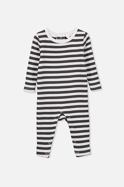 The Snug Rib Snap Romper, KYLE STRIPE GRAPHITE GREY/WHITE