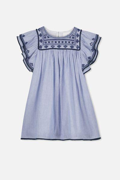 Rose Flutter Sleeve Dress, PEACOAT STRIPE