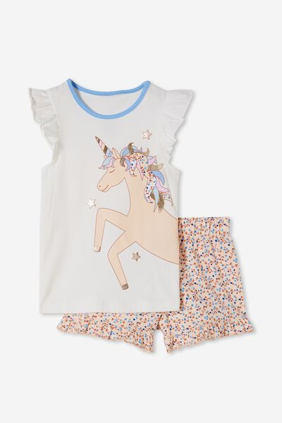 Stacey Short Sleeve Flutter Pyjama Set, SIERRA FLORAL UNICORN/VANILLA