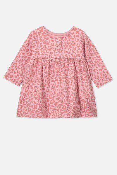 Molly Long Sleeve Dress, SWEET BLUSH/SUMMER OCELOT
