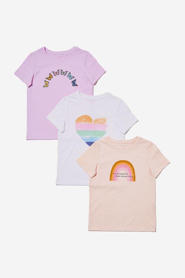 Girls Multipack Short Sleeve Tee 3 Pack, RAINBOW BUNDLE 2