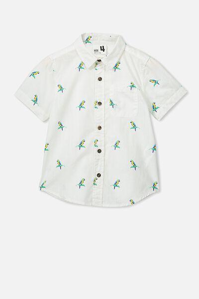Resort Short Sleeve Shirt, VANILLA/BIRDS