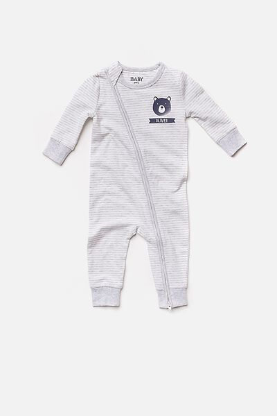 Mini Zip Footless Romper, CLOUD MARLE/VANILLA STRIPE (PERSONALISATION)