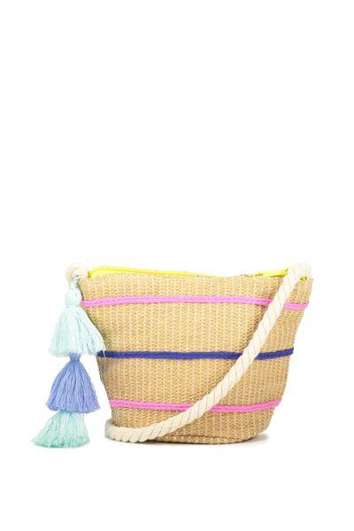 Woven Cross Body Bag, BLUE/SEAGLASS
