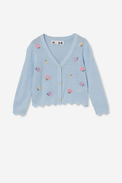 Audrey Floral Cardigan, WHITE WATER BLUE