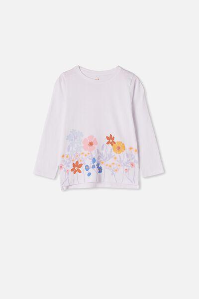 Penelope Long Sleeve Tee, WHITE/FLOWER GARDEN