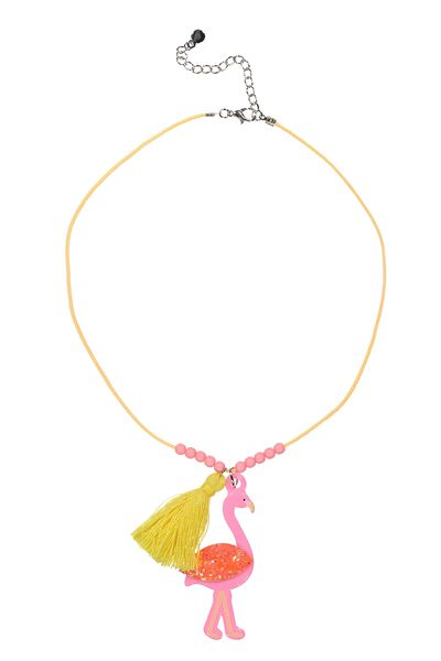 Animal Charm Necklace, FLAMINGO