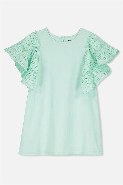 Mai Short Sleeve Dress, BAY/BRODERIE