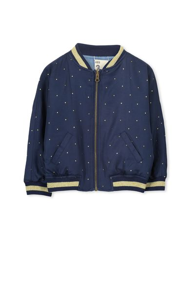 Georgia Jacket, PEACOAT GOLD FOIL DOT/CHAMBRAY