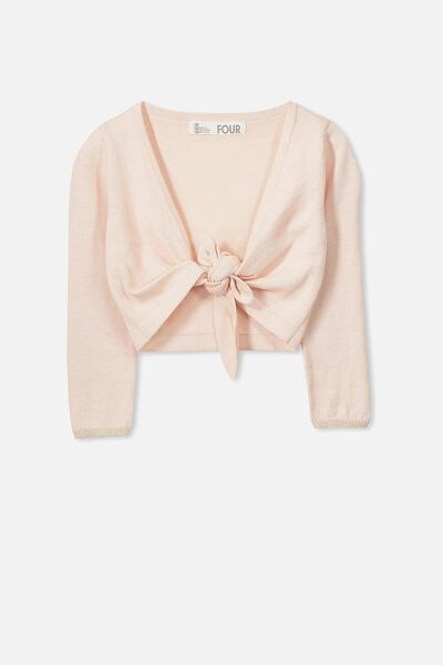 Annabelle Tie Front Cardigan, SHELL PEACH/GOLD
