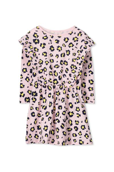 Amy Long Sleeve Dress, BUBBLEGUM PINK/ANIMAL