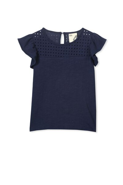 Anna Short Sleeve Broderie Top, PEACOAT