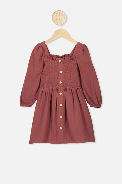 Lindsay Long Sleeve Dress, HENNA