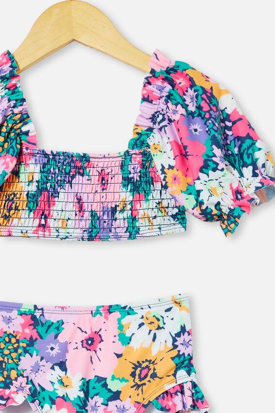 Primrose Puff Sleeve Bikini, INDIGO/FLOWER GARDEN