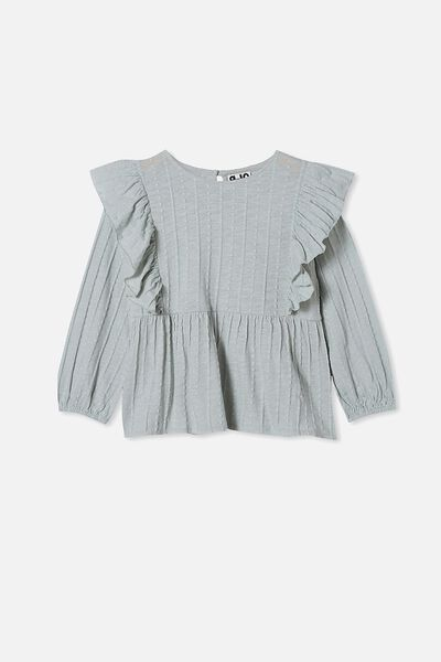 Juno Long Sleeve Frill Top, STONE GREEN