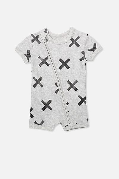 Mini Short Sleeve Zip Through All In One, LIGHT GREY MARLE/CROSSES