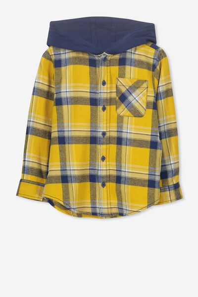 Harrison Hooded Long Sleeve Shirt, MUSTARD NAVY CHECK